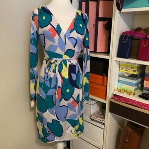Colorful Long Sleeved Wrap Dress Above the Knee